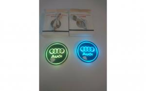 Set 2 x Suporturi pahar cu led, Sigla Audi, baterie reincarcabila