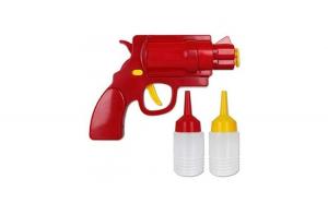 Dispenser pentru sosuri in forma de pistol, rosu, Gonga