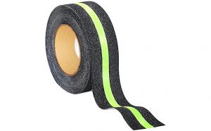 Banda adeziva antialunecare negru / verde fosforescent 5cm X 5m