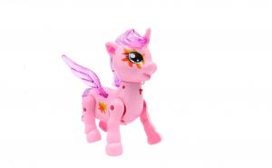 Ponei, unicorn cu aripi, cu sunete si lumini, alearga, roz