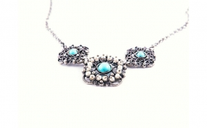 Colier din Argint cu Turcuaz si Perle