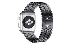 Curea Apple Watch, Zale Hexagonale, Compatibil Watch 1/2/3/4, 44mm, Negru