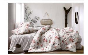 Lenjerie pentru pat dublu cu 2 fete, din finet, 6 piese, clopotei pe gri