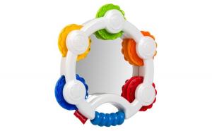 Jucarie zornaitoare. fisher price.model tamburina cu oglinda. 16x3 cm. multicolor