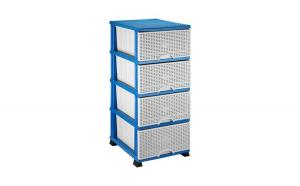 Dulap plastic depozitare tip ratan, Elif, 38x45x90cm ,Albastru/Gri