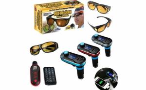Modulator FM mp3 player bluetooth cu incarcator pentru diverse dispozitive incorporat + 2 x Ochelari Hd Vision