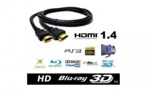 Cablu HDMI 1.4V - High Speed, 1.5 metri, FullHD, mufe aurite, pentru BLURAY 3D, DVD, PS3, Monitor HDTV, XBOX, LCD, HD TV, 1080P C50