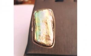 Inel din argint decorat cu scoica Paua - Mother of Pearl. Masura - 14