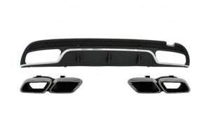 Difuzor Bara Spate cu Ornamente tobe compatibil cu Mercedes Benz W205 C-Class (2014-up) C63 AMG Design