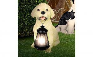 Lampa solara pentru gradina - catel cu felinar
