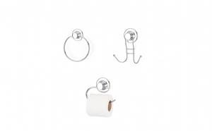Set accesorii pentru baie cromate pentru baie cu ventuza Tekno-tel DM 100