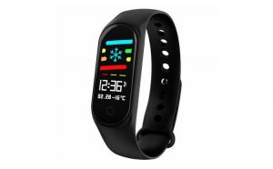 Bratara fitness M3 Plus Color, ritm cardiac, tensiunea arteriala, calorii, monitorizare somn, rezistent apa IP67, arata vremea/negru