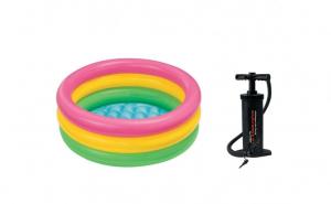 Piscina gonflabila copii, 3 inele, INTEX, 61 x 22 cm + pompa de mana INTEX