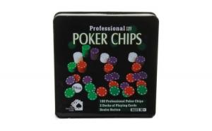 Set poker profesional,Texas Hold'em, 100 jetoane, 5 culori, 2 seturi carti de joc