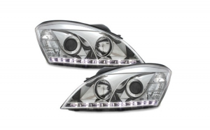Set 2 faruri compatibil cu KIA CEE'D 06-09 drl-optic, chrome