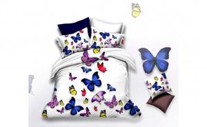 Lenjerie pentru pat dublu, din finet de calitate superioara, 6 piese