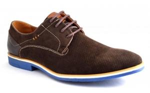 Pantofi barbatesti maro cu talpa albastra