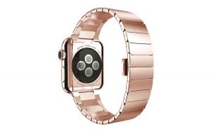 Curea compatibila cu Apple Watch 1/2/3/4, Zale metalice, Stainless Steel, 44mm, Rose gold