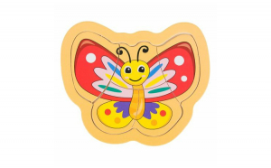 Puzzle Incastru lemn, fluture,5 Piese