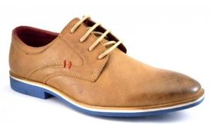 Pantofi barbatesti maro deschis cu talpa albastra