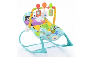 Balansoar bebelusi cu jucarii, albastru