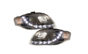 Set 2 faruri Dectane DRL look compatibil cu  Audi A4 B7 04-08, drl optic, black
