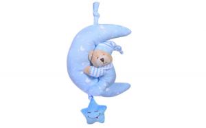 Jucarie de agatat pentru bebe. model urs de plus. cu sunete. albastru/alb