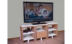 Imagine cupon oferta -                          Comoda TV cu 3 masute de cafea incluse, Alb/Cires, Model 6041