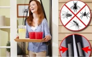 Perdeaua tip plasa anti insecte, cu inchidere magnetica