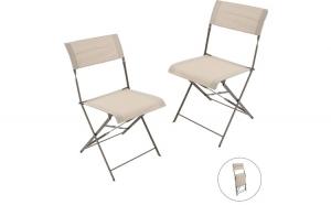 Set 2 scaune gradina, scaun pliant terasa, balcon, Interio, metal, 45 x 42 x 84 cm, bej