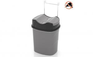 Cos gunoi din plastic cu suport cromat Tekno-tel, culoare gri, 5.5 l SF007