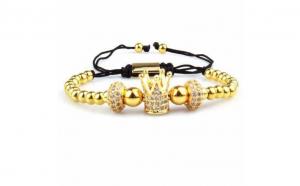 Bratara de lux cu diamante CZ si pietre semipretioase Royal ajustabila - Aurie