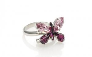 Inel fluture realizat cu cristale Swarovski