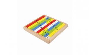 Joc Montessori pentru matematica, 19 bete de numarat + cutie depozitare, lemn vopsit cu lacuri ecologice