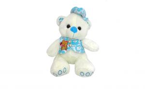 Ursulet de plus alb, cu hainuta bleu