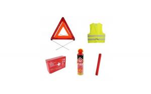 Pachet Siguranta auto cu stingator tip spray, trusa medicala, vesta reflectorizanta si 2 triunghiuri