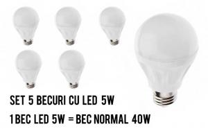 Set 5 becuri cu LED de 5W, set foarte economic, la doar 45 RON in loc de 90 RON