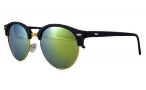 Ochelari de soare Retro II verde deschis cu reflexii - Auriu