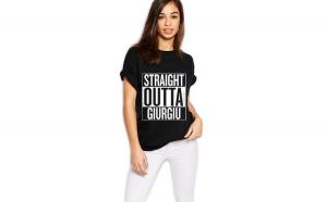 Tricou dama negru - Straight Outta Giurgiu