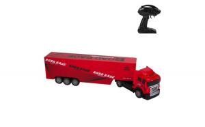 Masinuta de jucarie cu telecomanda, model camion cu container, rosu, 50x8x12 cm