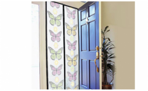 Plasa anti insecte pentru usi, imprimeu fluturi si inchidere magnetica, 210 x 100 cm