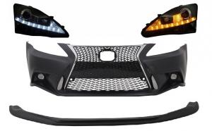 Bara fata cu Lip prelungire, compatibil cu Lexus IS XE20 (2006-2013) IS F Sport Facelift Design si faruri LED DRL, negru