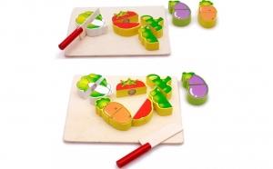 2 puzzle lemn fructe + legume de feliat