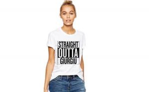 Tricou dama alb -  Straight Outta Giurgiu