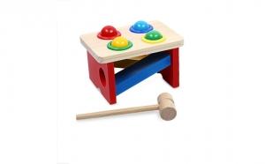 Jucarie Montessori cu ciocanel si 4 bile