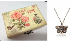 Set cadou : cutie lemn bijuterii + ceas