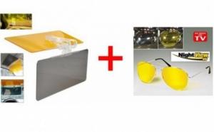Set auto parasolar HD + ochelari protectie anti UV, potriviti pentru condus, vanatoare, pescuit, camping