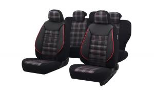 Set huse scaun sport negru-rosu