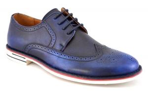 Pantofi barbatesti bleumarin eleganti, Incaltaminte piele