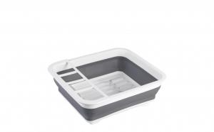 Suport pentru vase cu scurgator Kassel, pliabil, silicon + plastic